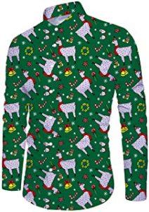 camisa de navidad verde con alpacas